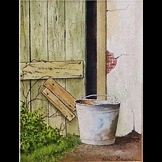 "Original Watercolor Painting by Fini Beunis - ""Barnyard Bucket"""