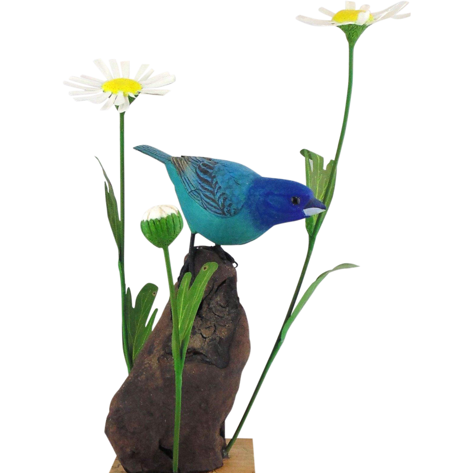 Hand Carved Wooden Sculpture of Indigo Bunting