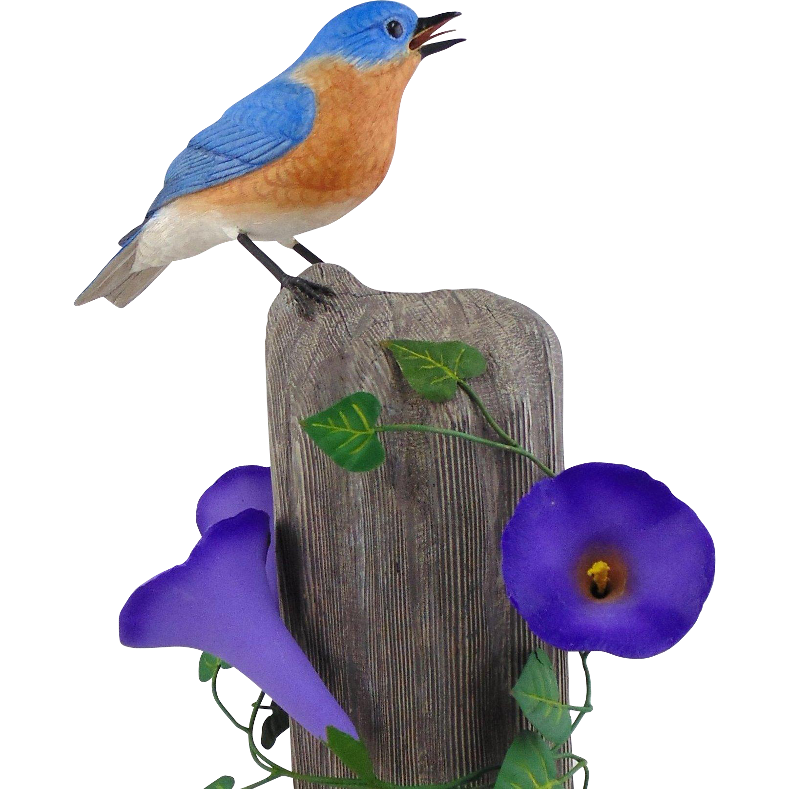 Hand Carved Wooden Sculpture of Eastern Bluebird
