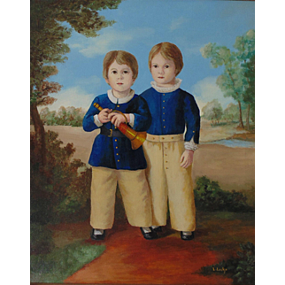 The Brothers, Original Oil Painting  by Louise Lecka