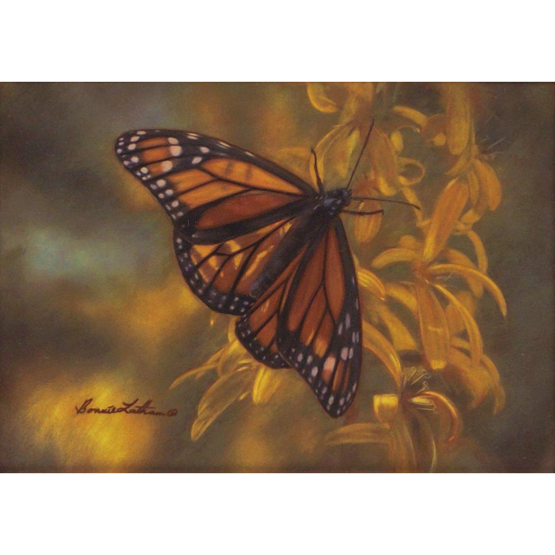 Golden Delight-Monarch Butterfly, Original Watercolor Painting by Bonnie Latham
