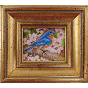 Bluebird and Cherry Blossoms II - Original Miniature Oil Painting on Ivorine by Beverly Abbott