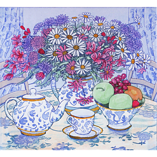 Tea Time, An Original Etching by Stephan Whittle (British: 1953-2000)