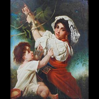 The Harvest, Antique Oil Painting (Late 19th C Italian School)
