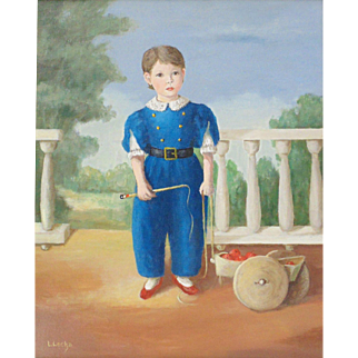Young Boy in Blue, Original Oil Painting by Louise Lecka