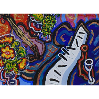 A Violin Duet For the Piano, Original Acrylic Painting by Berge Missakian