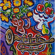 Composition with Fruits and Trumpet, Original Acrylic Painting by Berge Missakian