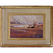 Almost Spring, An Original Miniature Oil Painting on Antique Wood Frame by Jeffrey H. Craven