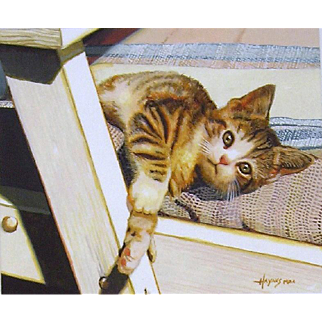 """Morning Mischief"", Original Miniature Watercolor Painting by Richard Haynes"