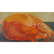 """Nap Time"", Original Miniature Oil Painting by Karen Arthur"