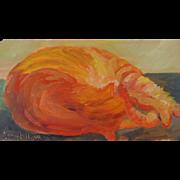 """Nap Time"", Original Miniature Oil Painting by Karen Arthur"
