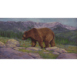"""Marmot Hunting-Grizzly"", Original Miniature Painting by Travis R. Humphreys"