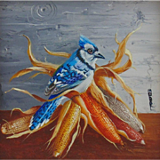 """Blue Feathers"", Original Miniature Oil Painting by Gail MacArgel"