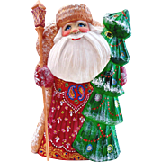 Russian Santa with Christmas Tree - Hand Carved & Painted