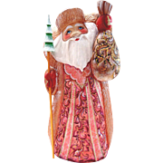 Large Russian Santa with Sack & Staff - Hand Carved & Painted