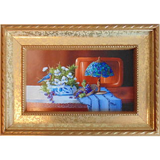 """""""Lighting By Tiffany"""", Original Miniature Oil Painting by Gail MacArgel"""