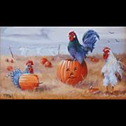 """Fowloween"", Original Miniature Oil Painting by Gail MacArgel"