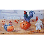"""Fowloween"", Original Miniature Oil Painting by Gail MacArgel"
