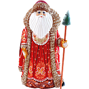 Russian Santa in Red & Gold with Christmas Tree Staff