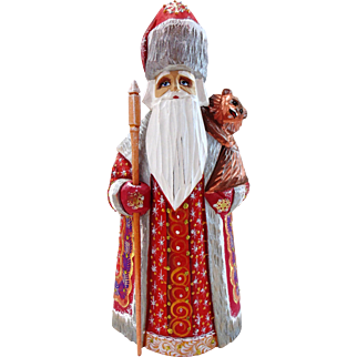 Russian Santa in Red & Gold with Bear Cub