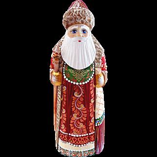 Russian Santa in Red & Green