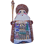 Small Russian Santa - Maroon & Gold - Red Tag Sale Item