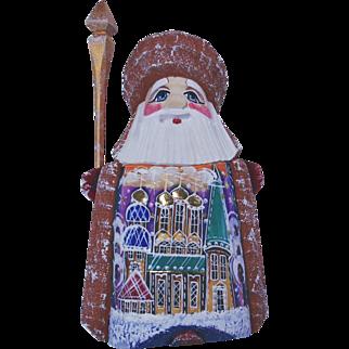 Small Russian Santa - Maroon & Gold