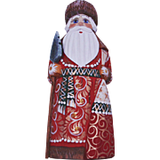 Russian Santa in Red & Gold with Tree Staff & Matching Bag