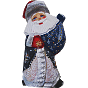Russian Santa Blue & White-Hand Carved & Painted