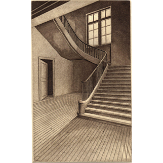 Stairway with Silent Echoes, Original Etching by David Hunter-Listed