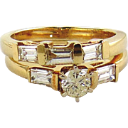 Diamond Engagement 14kt Two Tone Gold Rings