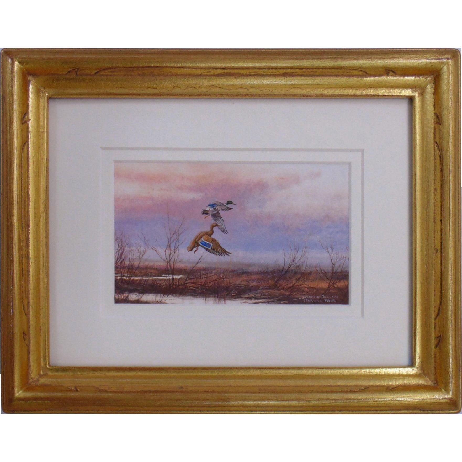 Miniature Watercolor Painting by Jeffrey Craven of Ducks
