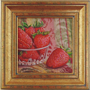 Miniature Oil Painting by Beverly Abbott - Strawberries in Crystal