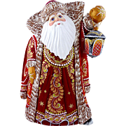 Russian Santa/Father Christmas With Movable Glowing Blue Lantern