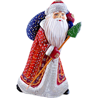 Russian Santa/Father Christmas With Blue Toy Sack & Christmas Tree Staff
