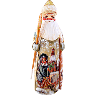 Russian Santa/Father Christmas With Victorian Ladies in Winter Scene