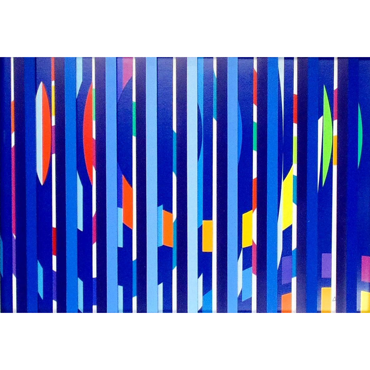 Festival Evening – Multi Blue Grill by  Yaacov Agam (Israel-b 1928)