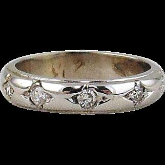 Diamond Wedding  Band  14kt  White Gold