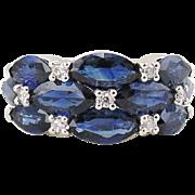 Sapphire & Diamond Ring 14kt  White Gold