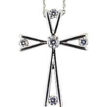 Diamond Cross Pendant  & Chain 18kt White Gold
