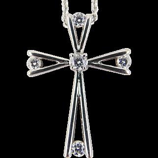 Diamond Cross Pendant  & Chain 18kt White Gold