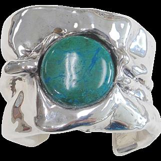 Sterling Silver &  Azurite  Free-form  Cuff Bracelet