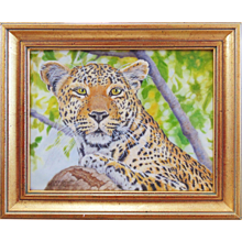 Original Miniature Painting by Beverly Abbott - Lazy Day (Leopard)
