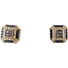14kt Yellow Gold Black & White Diamond Earrings