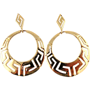 18kt Yellow Gold Earrings-Circular Greek Key Openwork