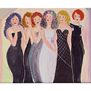 Original Mixed Media  Painting by Elaine Sweiry-The Bachelorette Party