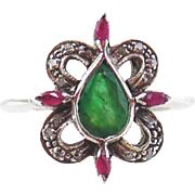 Ladies Green Beryl, Ruby & Diamond Ring-Sterling Silver