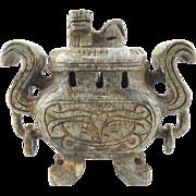 Chinese Hard Stone Lidded Incense Burner