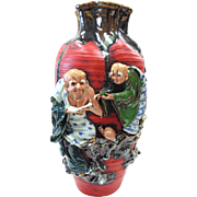 Japanese Pottery-Sumida Gawa Vase With Four Old Men, Tiger & Snail