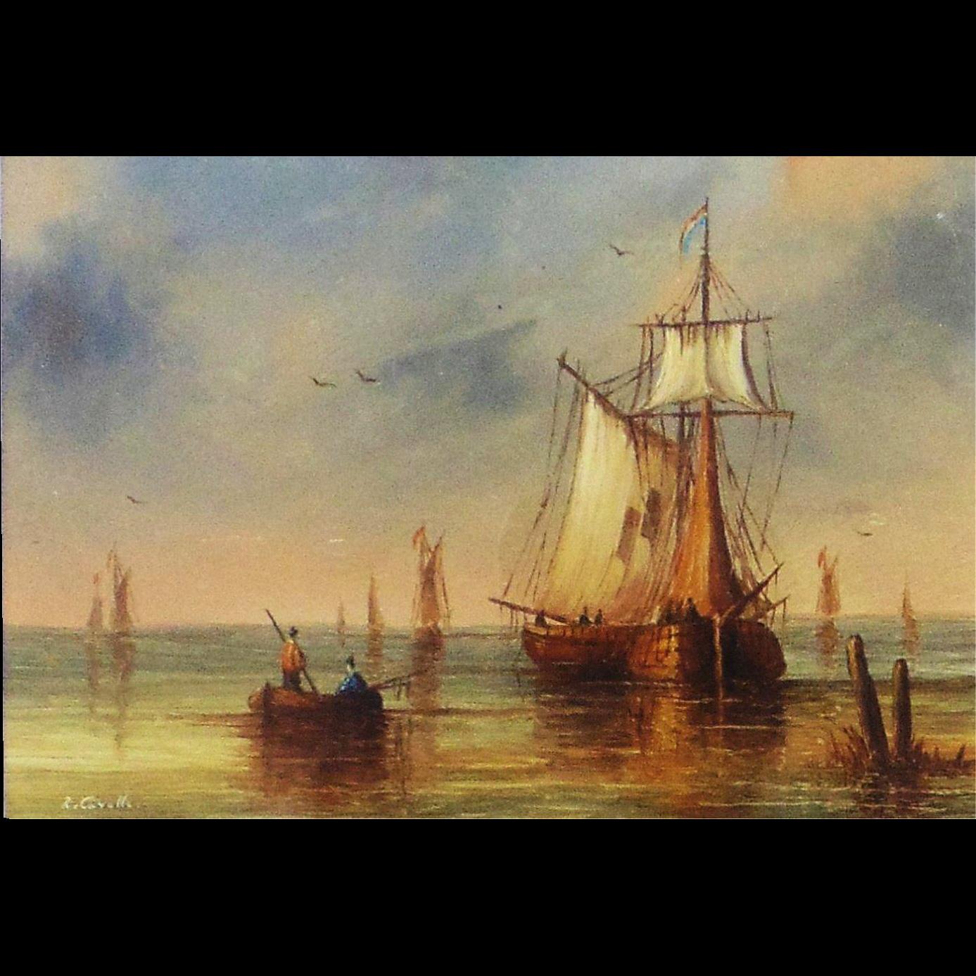 Original Oil Painting by Ron Cavalla- Harbor Scene